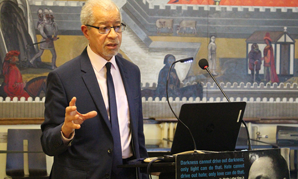 Lord Ouseley speaking at the launch of our Lambeth exhibition, January 2017