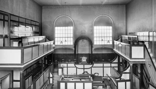 Shire Hall Dorset: Courtroom taken in the late 1950s. This is the original late 18th century courtroom where the Tolpuddle Martyrs were tried and sentenced to 7 years transportation in 1834. Thomas Hardy later served here as a Magistrate. It finally closed in 1955.